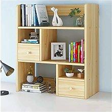 MHBGX Bookshelf,Top Bookcase with 2 Drawers, Desk