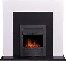 Miami Fireplace in Pure White & Black with