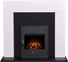 Miami Fireplace in Pure White & Black with Oslo