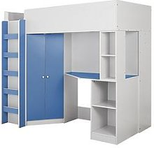 Miami Fresh High Sleeper Bed With Desk, Wardrobe