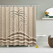 MIASDUANFA Shower curtainBeach Hand Painted