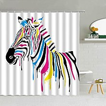MIASDUANFA Shower curtainColored Striped Zebra