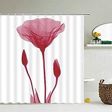 MIASDUANFA Shower curtainFlower Dandelion Red Rose