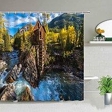 MIASDUANFA Shower curtainLandscape Forest Lake