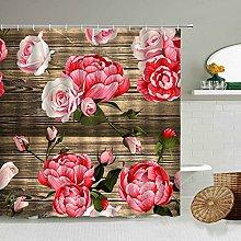 MIASDUANFA Shower curtainLove Rose Poppy Flower