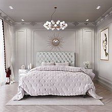 MiBed Cheshire Fabric Superking Bed Frame - Grey