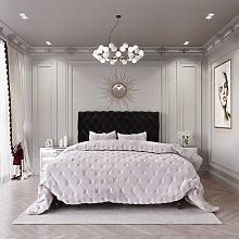 MiBed Cheshire Velvet Superking Bed Frame - Black