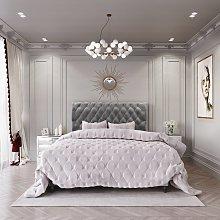 MiBed Cheshire Velvet Superking Bed Frame - Grey