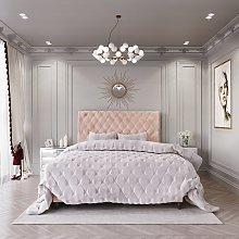 MiBed Cheshire Velvet Superking Bed Frame - Pink