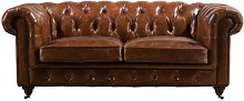 Micheal Leather 2 Seater Chesterfield Sofa