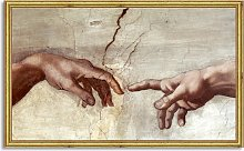 Michelangelo - Creation of Adam Wood Framed Print,