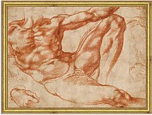 Michelangelo - Reclining Male Nude Wood Framed
