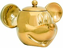 Mickey Mouse Deluxe 3D Ceramic Cookie Jar, Gold