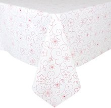Micro-Pro White/Red Flowers Wipe Clean PVC Vinyl