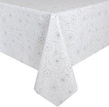 Micro-Pro White/Silver Flowers Wipe Clean PVC