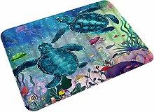 Microfiber Bath Mat Rug,Sea Turtle Ocean Creature