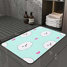 Microfiber Bath Rug Absorbent Bathroom Mats Blue