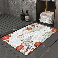 Microfiber Bath Rug Absorbent Bathroom Mats Cherry