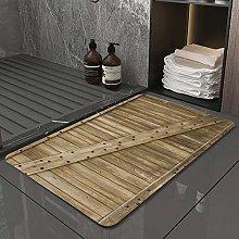 Microfiber Bath Rug Absorbent Bathroom Mats Wood