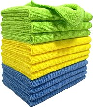 Microfiber cleaning cloths - blue / green / yellow