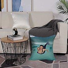 Microfiber cushion cover 50x50 cm,Mermaid