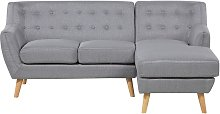 Mid Century Modern Corner L Sofa Button Tufted
