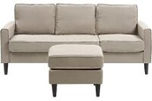 Mid-Century Transitional 3 Seater Beige Fabric
