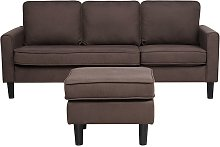 Mid-Century Transitional 3 Seater Brown Fabric