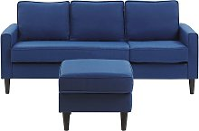 Mid-Century Transitional 3 Seater Navy Blue Fabric