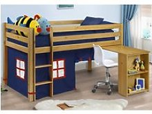 Mid Sleeper 3ft Single Kids Storage Desk Bed