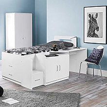 Mid Sleeper with Storage, Happy Beds Cookie White