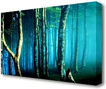 Midnight Blue Forest Forest Canvas Print Wall Art