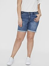 Midwash Denim Fitted Shorts - 26