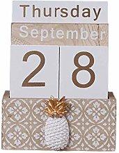 MIKI-Z Vintage Wooden Perpetual Calendar Eternal