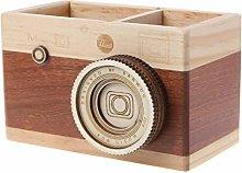 MIKI-Z Wooden Pen Holder,Creative Camera Pattern