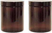 Mikken 2 Brown Glass Jars 180 ml / Ointment Jars /