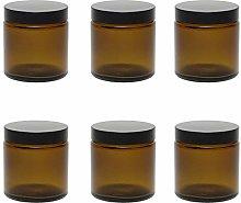 Mikken 6 Brown Glass Jars 120 ml / Ointment Jars /