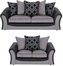 Milan Faux Leather And Fabric 3 Seater + 2 Seater