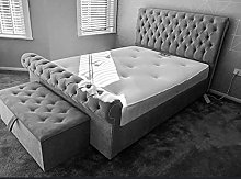 Milan Plush Velvet Upholstered Bed Frame - Steel