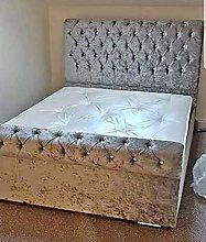 Milan Silver Crushed Velvet Upholstered Bed Frame