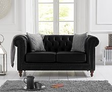 Milano Chesterfield Black Leather 2 Seater Sofa