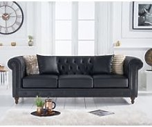 Milano Chesterfield Black Leather 3 Seater Sofa