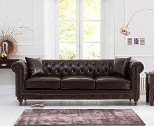 Milano Chesterfield Brown Leather 3 Seater Sofa