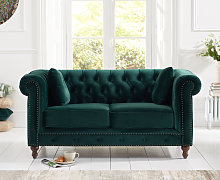 Milano Chesterfield Green Plush 2 Seater Sofa