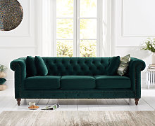 Milano Chesterfield Green Plush 3 Seater Sofa