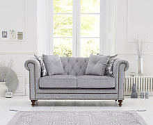 Milano Chesterfield Grey Fabric 2 Seater Sofa