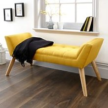 Milanos Fabric Upholstered Window Seat Bench In