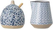 Milk jug and Camellia sugar bowl in porcelain