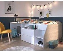 Milky White and Grey Oak Midsleeper Bed Frame - EU