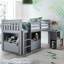 Milo Grey Wooden Mid Sleeper Kids Bed Frame - 3ft